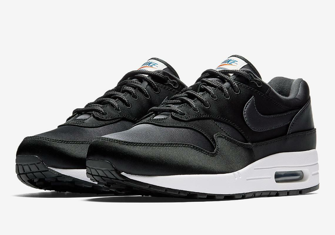 NIKE AIR MAX 1 SE SATIN UPPER AO1021 001 BLACK/ANTHRACITE VERY DARK GREY/WHITE