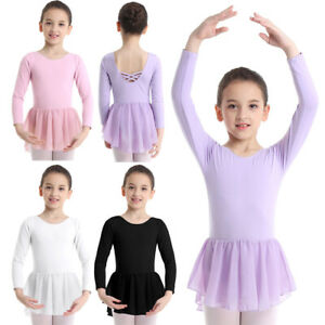 UK-Kids-Girls-Long-Sleeve-Ballet-Dress-Leotard-Skirt-Ballerina-DanceWear-Costume