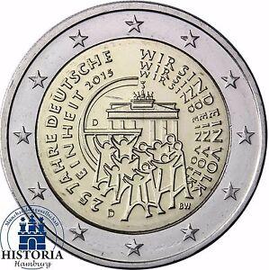 Deutschland 2 Euro 25 Jahre Deutsche Einheit 2015 Prägefrisch Mzz D