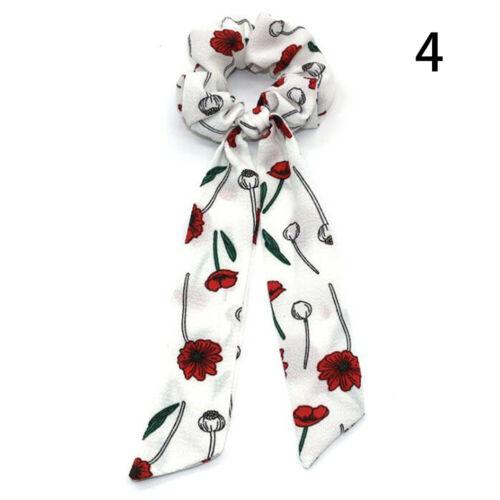 Boho Style Print Ribbon Bow Ponytail Holder Hair Band Scarf Hair Rope Ring Girls