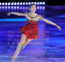 Ice skating dress.Red/gold New Competition Figure Skating /Baton Twirling custom