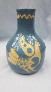 "Handmade Studio Ceramic Art Pottery Blue Beige Birds Vase Signed 6 1/4"" T x 7"" W"