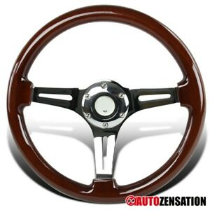 340MM-Classic-Wooden-Style-6-Bolt-Hub-Chrome-Spoke-Racing-Steering-Wheel
