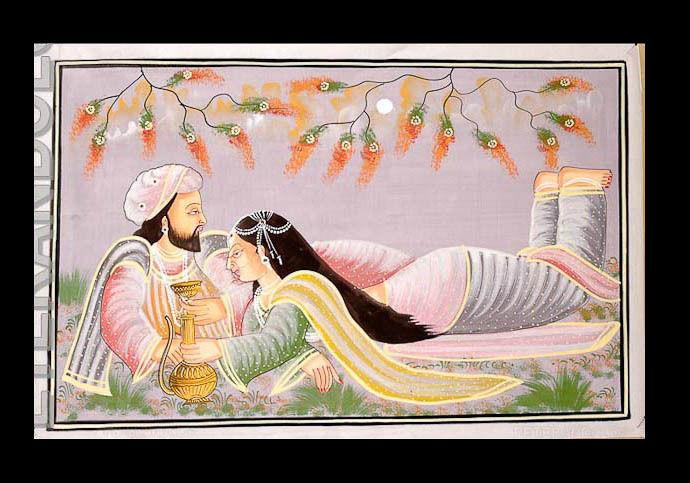 Tenture Murale Peinture sur Soie Scène de vie Kunst Moghole Inde 71x49cm A4 1171