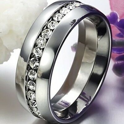 Size 5-15 Titanium Ring Men Women Wedding Stainless Steel Engagement Swarovski