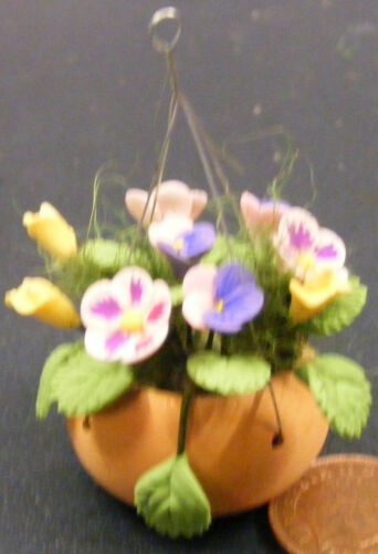 1:12 Scale Mixed Flowers In A Hanging Basket Tumdee Dolls House Garden 1631