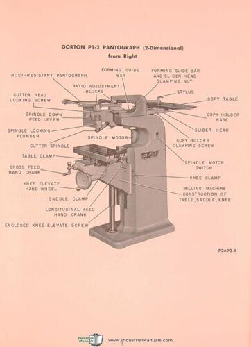 Gorton P1-2 2701 Maintenance /& Replacement Parts Manual 1956 Pantograph