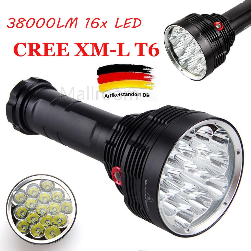 Wasserdicht LED 38000LM 16x XM-L T6 LED Wasserdicht Taschenlampen 3Modi 18650 Torch Flashlight 537af3