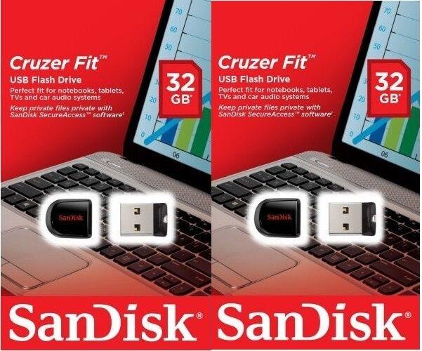 Lot 2 x SanDisk 32GB 32G (=64GB) USB CZ33 Cruzer Fit USB 2.0 SDCZ33-032G