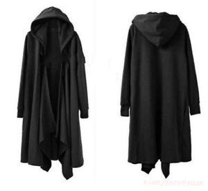 8e908d68e Hip Hop Punk Men Rock Style Hooded Cloak Cape Soft Trench Coat Loose ...