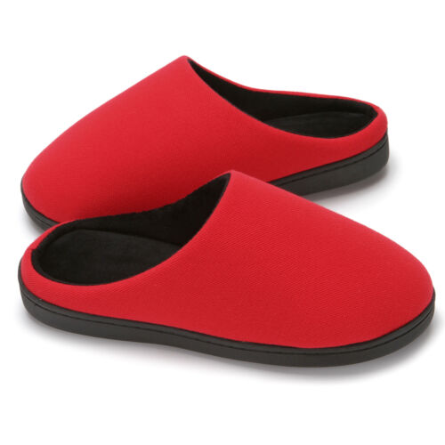 Women/'s Two-Tone Cotton Memory Foam House Slippers w//Indoor Outdoor Sole