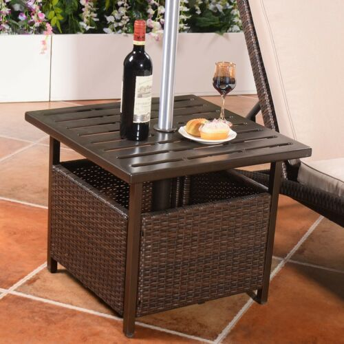 Brown Wicker Rattan Steel Side Table Outdoor Furniture Deck Garden Patio Pool