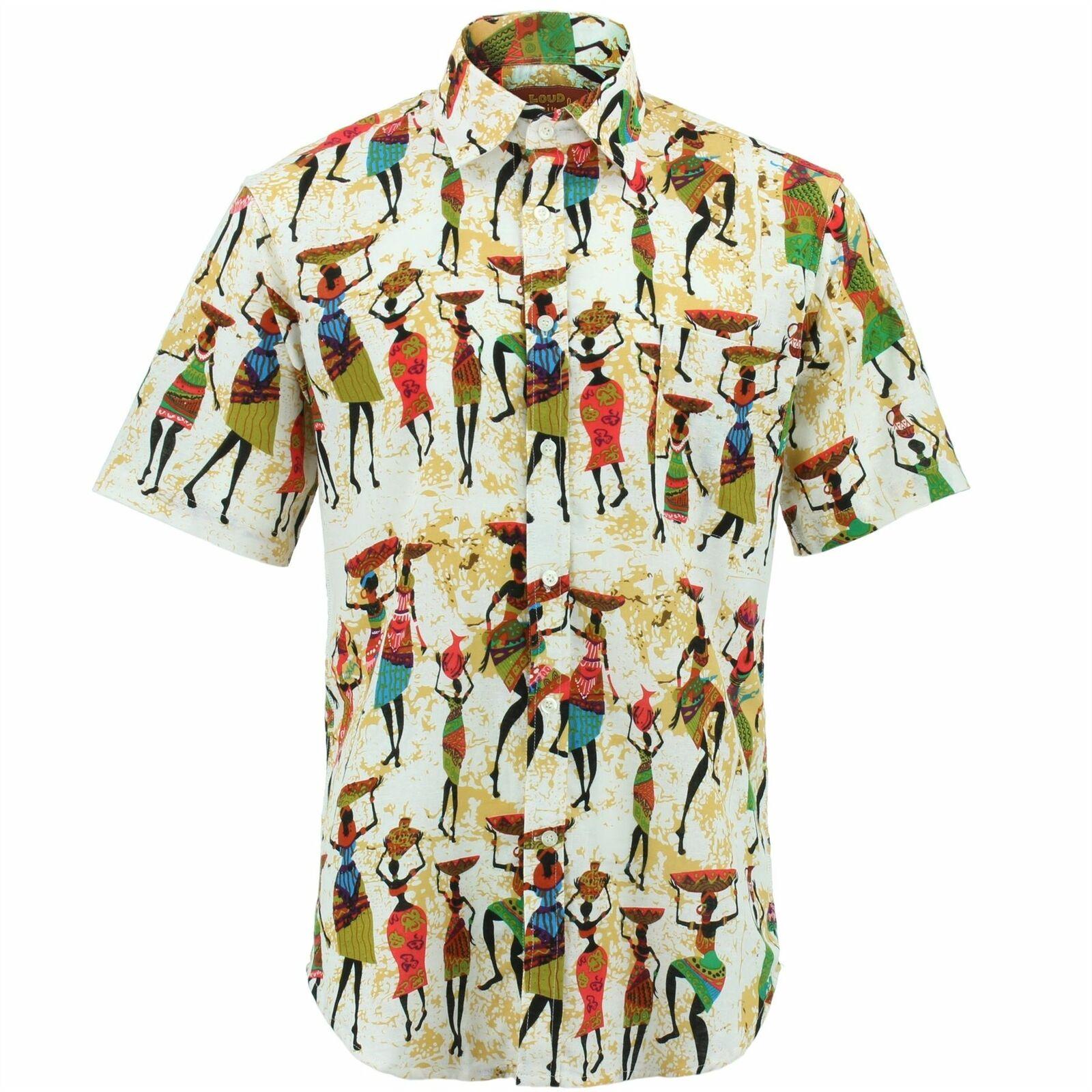 Camicia da uomo forte ORIGINALI REGULAR FIT che trasportano Retrò Fantasia Psichedelica