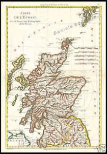 Cartina Stradale Della Scozia.Carta Geografica Antica 1700 Scozia Regno Unito Bonne Ebay