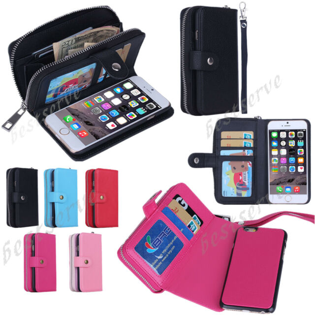 PU Leather Wristlet Cash Clutch Wallet Card Slot Case Cover For iPhone 5s 6 Plus