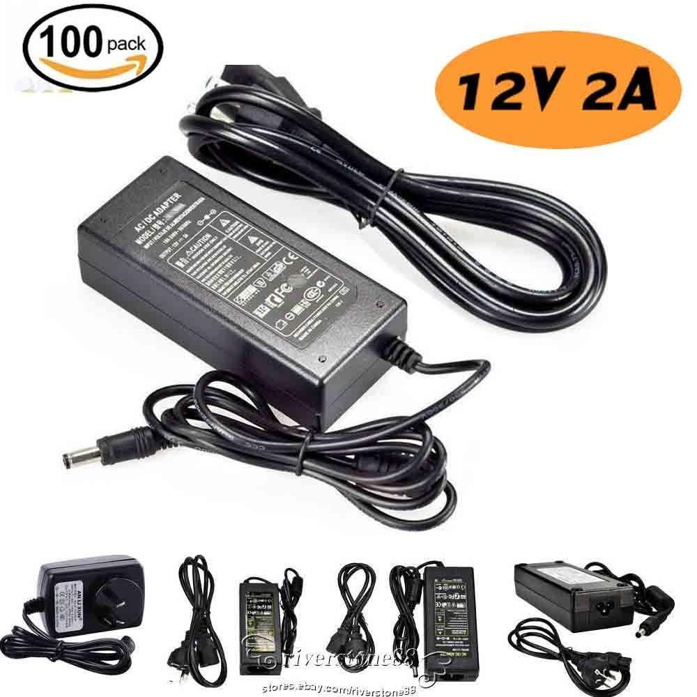 12V 2A AC DC Adapter Charger Power Supply LED Strip Light US EU UK AU Plug LOT