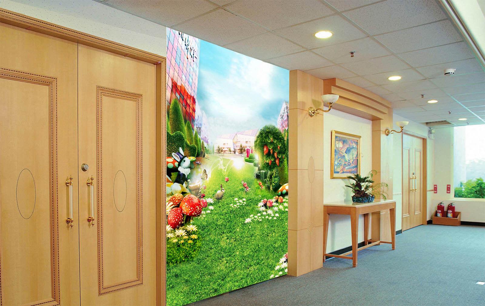 3D Fruit Tree Lawn Cartoon Wall Paper Wall Print Decal Wall AJ WALLPAPER CA