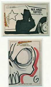 INDIANA-JONES-HAND-DRAWN-ARTIST-SKETCH-CARD-LOT-BY-KEVIN-GRAHAM-amp-GRANT-GOULD