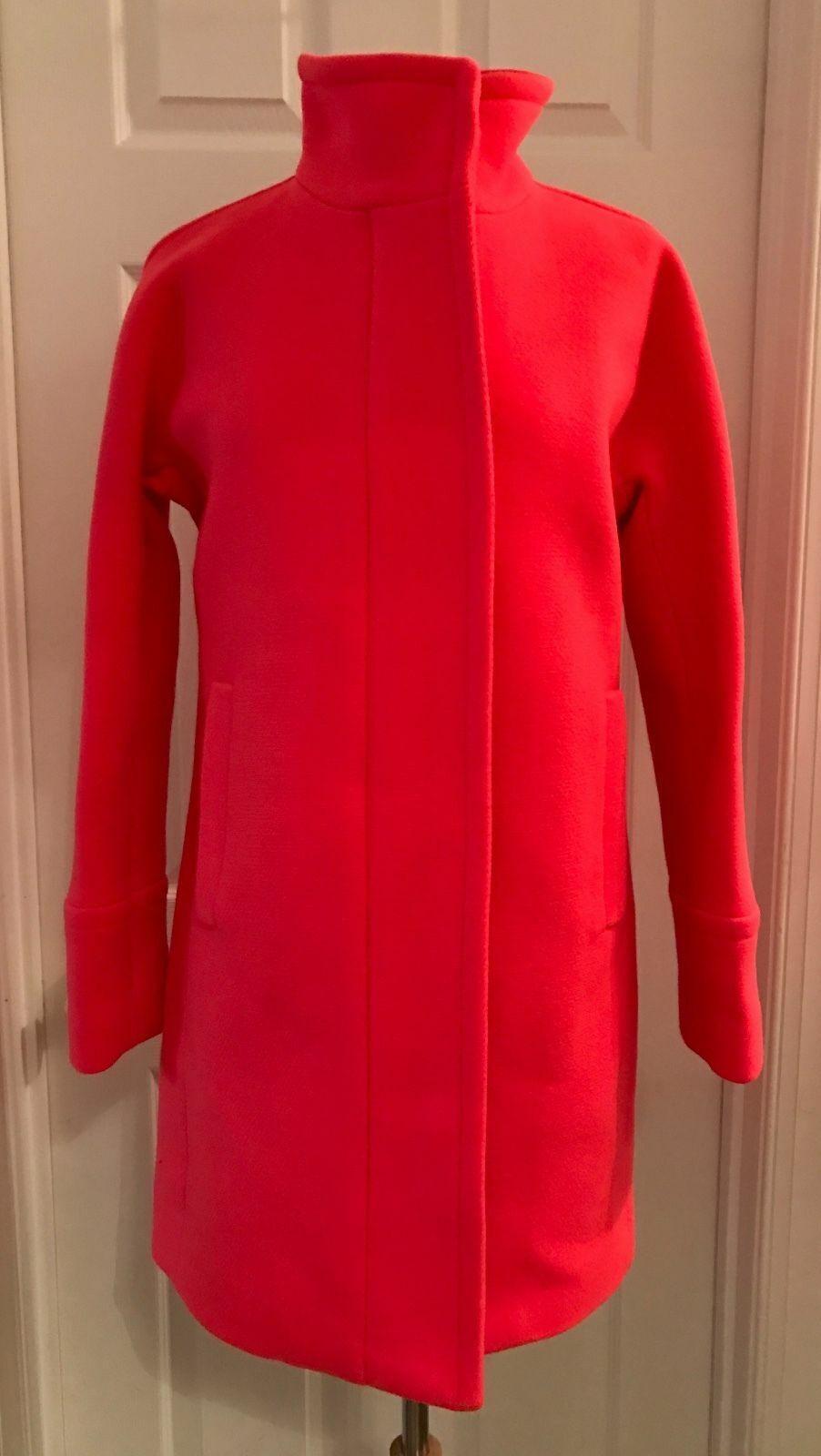 J.CREW STADIUM-CLOTH COCOON COAT Sz 10 SPACED orange B2770