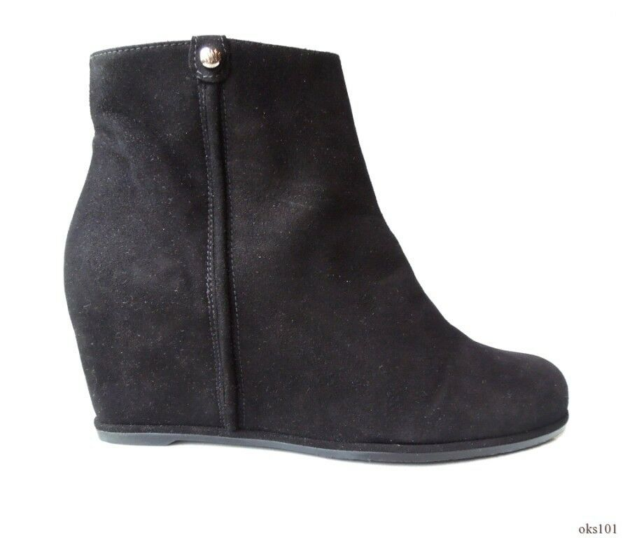 New  498 STUART WEITZMAN 'Sidetrack' black suede wedge ANKLE BOOTS - very comfy