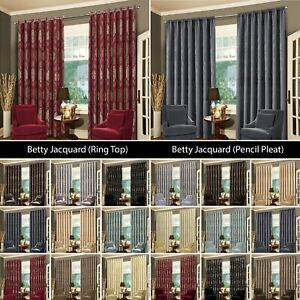 Eyelet-Ring-Top-Panel-Or-Pencil-Pleat-Curtains-Pair-Heavy-Extra-Wide-Long-Drop