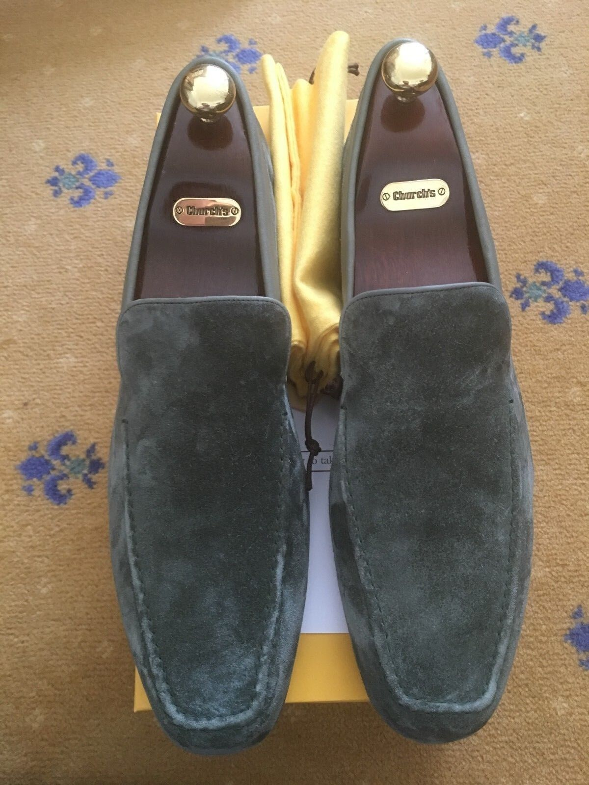 NUOVE Scarpe pelle Da Uomo John Lobb verdi in pelle Scarpe scamosciata Mocassini US 12.5 45.5 Pantofola Casa 7cc0f6