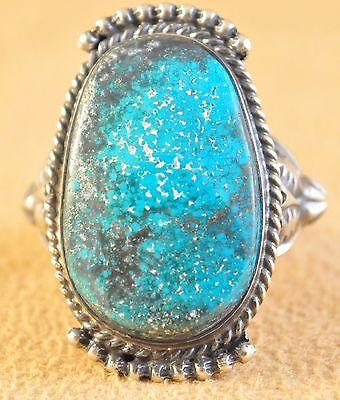 Sterling Silver Rare High Grade Candelaria Turquoise Navajo Ring Kelly Morgan