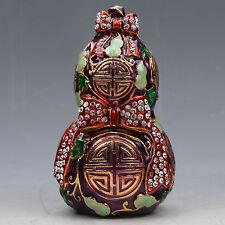 Chinese Collectable Cloisonne Inlaid Rhinestone Handwork Gourd Statue G039