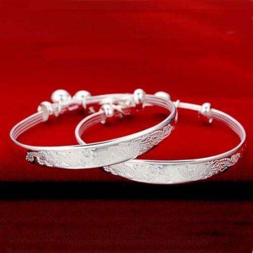 Plated Silver Chinese Style Bells Baby Tibet Bracelet Adjustable Jingle Bangle