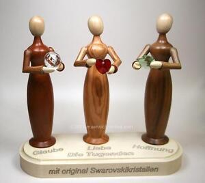 3-moderne-Engel-Erzgebige-Die-Tugenden-Erzgebirgische-Volkskunst-aus-Seiffen