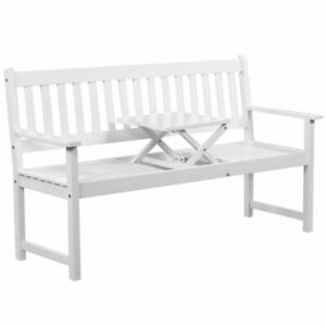 Terrific Details About Vidaxl Solid Acacia Wood Patio Garden Bench With Integrated Table Outdoor White Machost Co Dining Chair Design Ideas Machostcouk