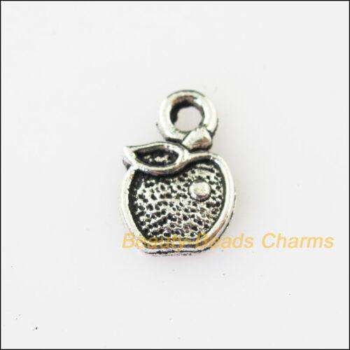 20Pcs Antiqued Silver Tone Friut Apple Leaf Charms Pendants 7.5x12mm