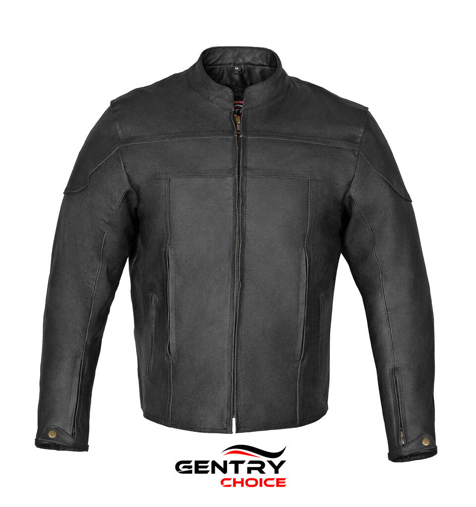 Motorcycle Leather Jacket Black Motorbike Biker Riders Safety Jacket