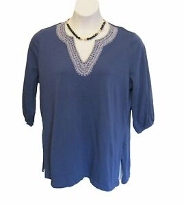 KNIT Tunic Shirt Plus Size 1X 14W 16W Kurta Top Dusty blue Embroidered Casual