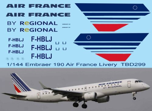 1//144  Air France Livery Decals for Embraer 190 Decal TBD299