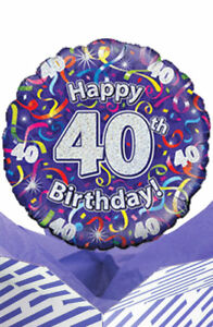Image Is Loading 40th Birthday Streamers Balloon In A Box Gift