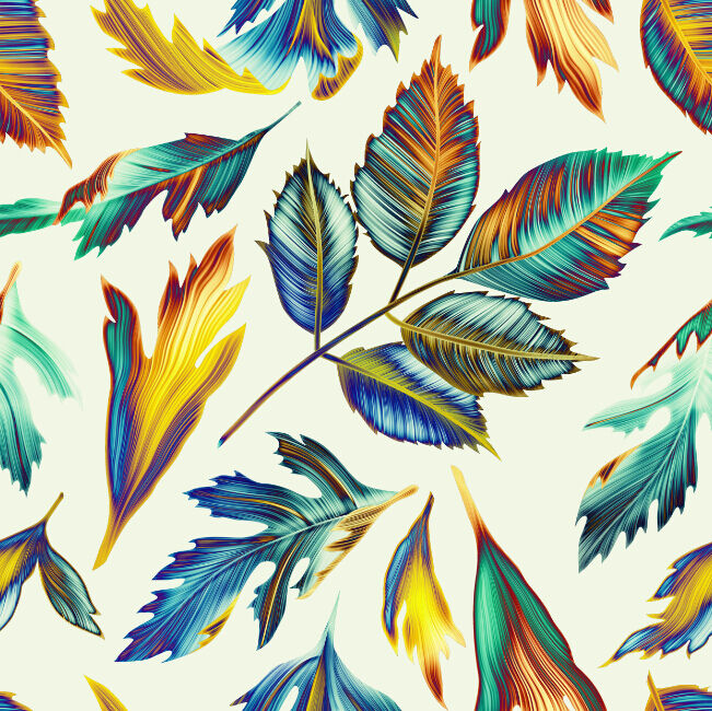 Mega Bright Farbeful Leaves737 Wall Paper Wall Print Decal Wall Deco Indoor Wall