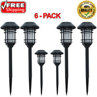 Hampton Bay Black Solar Led Pathway Outdoor Light Yard Path Way Landscape 6-pack