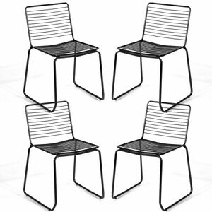 Marvelous Details About Set Of 4 Metal Dining Chair Armless Stackable Slat Seat Patio Outdoor Indoor New Interior Design Ideas Tzicisoteloinfo
