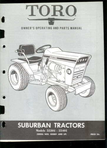Toro Suburban 55301 55401 Riding Lawn Mower Tractor Owner