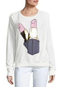 160a63b318 Wildfox Women's Lipstick Graphic Sweatshirt in White. Long Sleeve ...