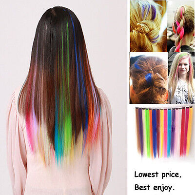 "Fashion 20"" 50cm Long Synthetic Straight Clip in Hair Extension Womens 7 Colors"