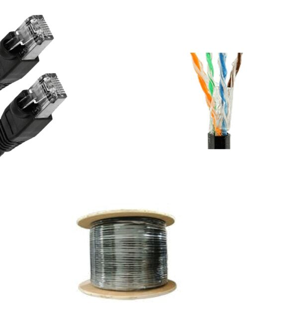 300/'Ft Cat5e Gel Outdoor Direct Burial Flood Cable Waterproof Network Ethernet