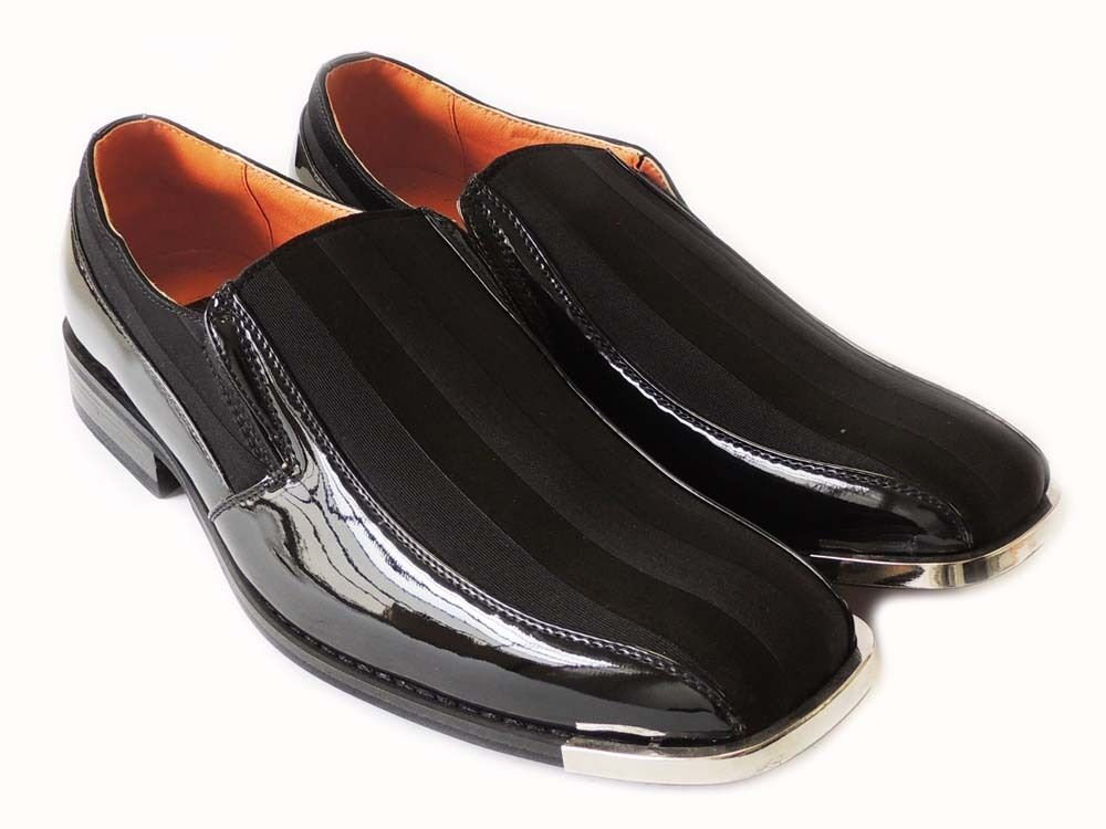 NEW FERRO ALDO FASHION MENS STRIPED SLIP ON LOAFERS CLASSIC DRESS SHOES  BLACK