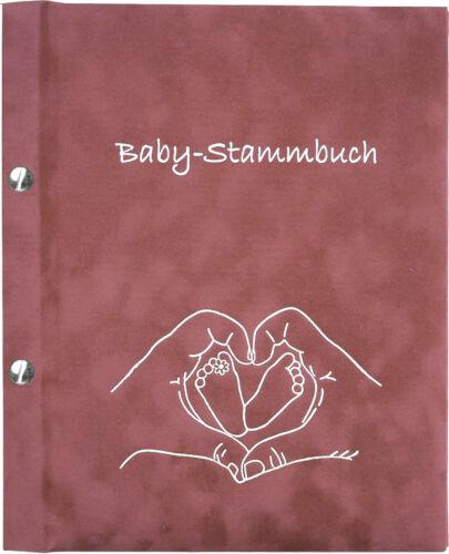 Geschenk zur Geburt Baby-Stammbuch AMELIA Mädchen altrosa Unterlagen Baby