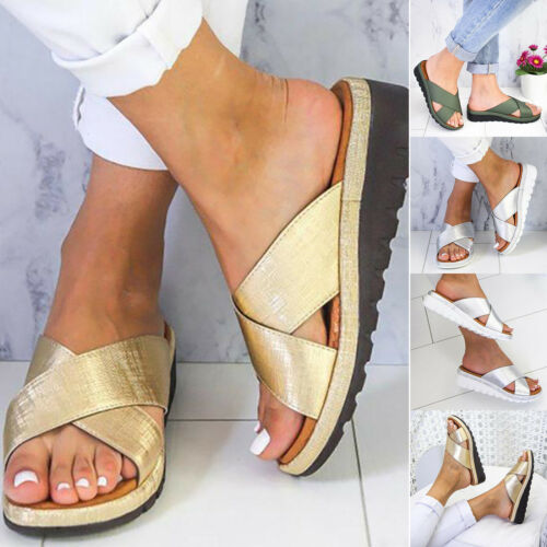 Women/'s Slippers Comfy Platform Sandals Shoes PU Leather Cross Strap Shoes Sizes