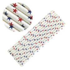 12 PC Red White and Blue Star Pattern Cake Pop Straws | Bakell®