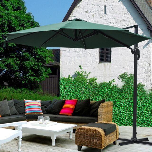 10u0027 Hanging Roma Offset Umbrella Outdoor Patio Sun Shade Cantilever Crank  Canopy