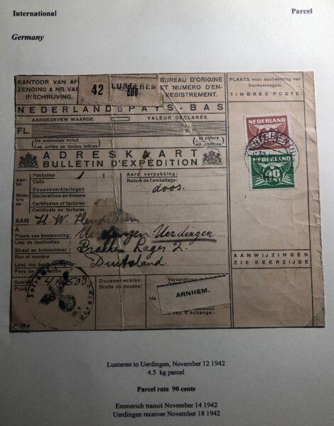 1942 Lunteren-bas Colis Reçu Couverture à Uerdingen Allemagne Officiel 2019