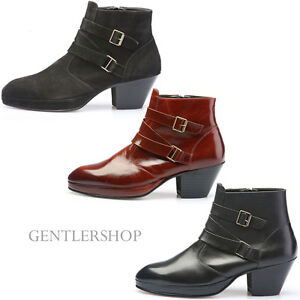 Mens Shoes High Heel 7cm Buckle Boots Handmade 5047- 3 Colors ...
